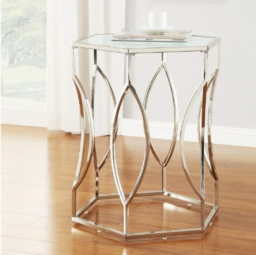 - Modern Art Deco Hexagon Style Chrome Silver Metal Accent Stool Side End Table with Frosted Glass Top