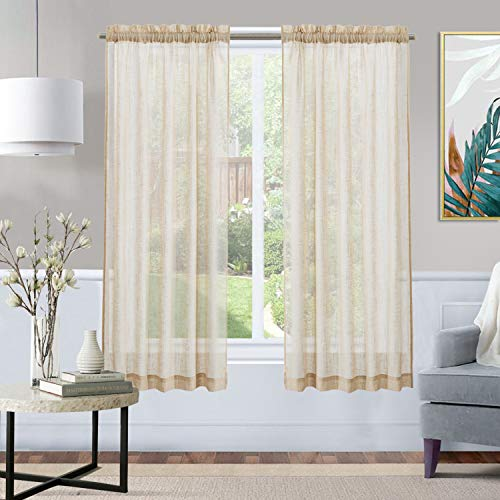 XWTEX Tier Curtains for Kitchen Pole Top Cafe Curtains Linen Semi Sheer Half Window Curtains for Living Room, 2 Pieces, L45, Taupe