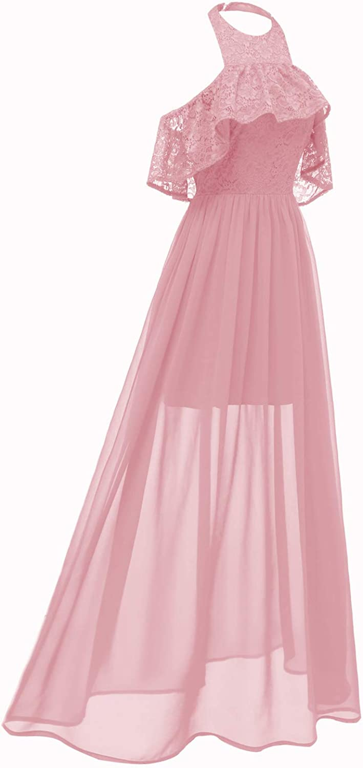 Bright Deer Women Embroidered Tulle Evening Prom Dress with 3D Floral Appliques