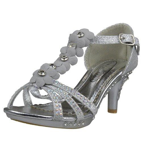 Kids Dress Sandals T-Strap Rhinestone Flower Glit High Heel Shoes Silver SZ 1