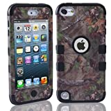 Lantier For iPod Touch 5th Case,Plastic 3 Layer TUFF Hard Cover Camo Triple Hybrid Silicone Quakeproof Drop Resistance Protective Shell Case for iPod Touch 5 5th Generation with Screen Protector and Stylus Pen Brown Branch/Black