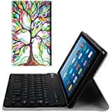 Fintie Keyboard Case for All-New Amazon Fire HD 8 (7th and 8th Gen, 2017 and 2018 Releases), Slim Shell Lightweight Stand Cover with Magnetically Detachable Wireless Bluetooth Keyboard, Love Tree
