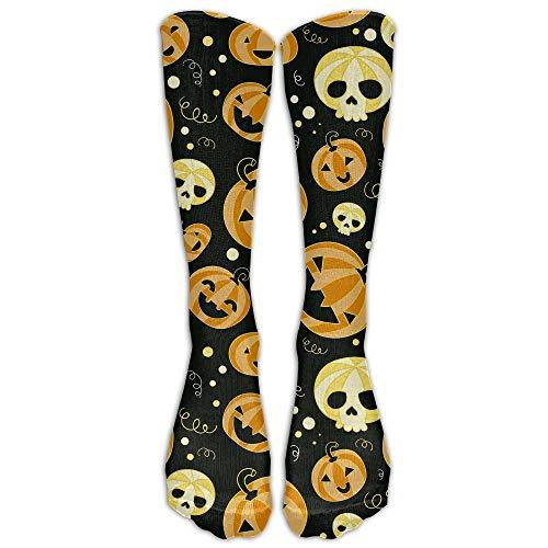 Mydufish Womens Cute Halloween Pumpkin Printed Sock Over Knee High Boots Girls Long Socks(50cm) -
