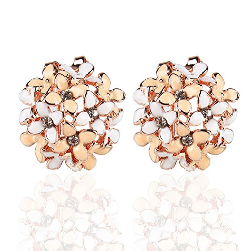 Ownsig Lady Charming Bloomy Four Leaf Clover Flowers Rhinestone Ear Stud Earrings Pink