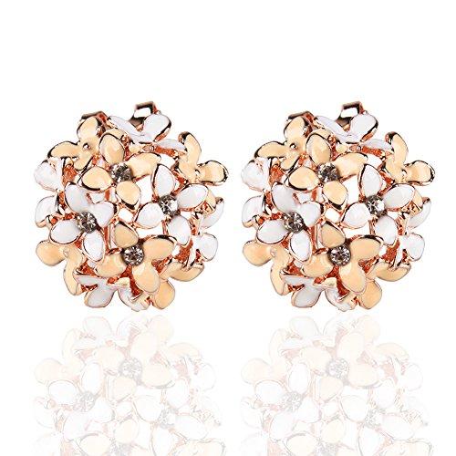 Ownsig Lady Charming Bloomy Four Leaf Clover Flowers Rhinestone Ear Stud Earrings - Flower Earrings Enamel Yellow