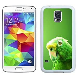 Easy use Cell Phone Case Design with Green Parrot Galaxy S5 Wallpaper in White