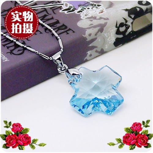 usongs Special sweet fashion Austrian crystal necklace pendant crystal necklace pendant cross necklace pendant Ms (Cross Pendant Austrian)