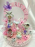 Girls Large Christening Baby Angels Centerpiece Cake Topper Decoration in Pink