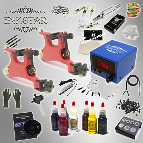 Complete Tattoo Kit Inkstar Journeyman Rotary Machine Gun Power Supply Radiant Colors Professional Ink Set