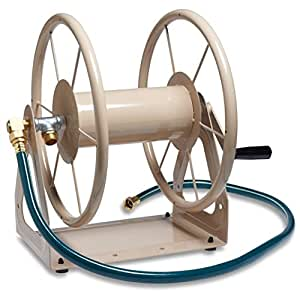 Liberty Garden Products 703-1 Multi-Purpose Steel Wall and Floor Mount Garden Hose Reel, Holds 200-Feet of 5/8-Inch Hose - Tan
