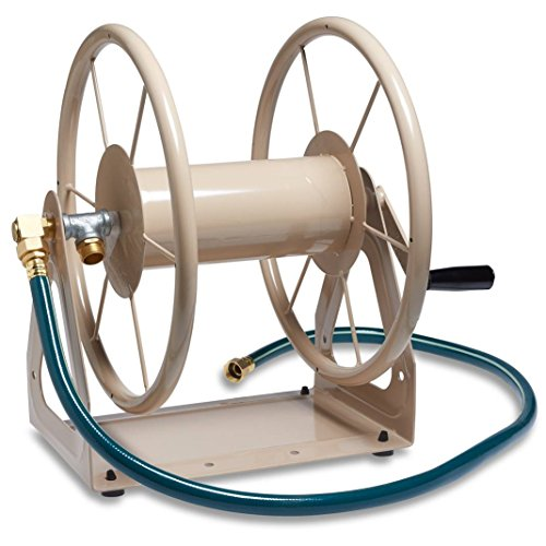 Liberty Garden Products 703-1 Multi-Purpose Steel Wall and Floor Mount Garden Hose Reel, Holds 200-Feet of 5/8-Inch Hose - Tan by Liberty Garden Products