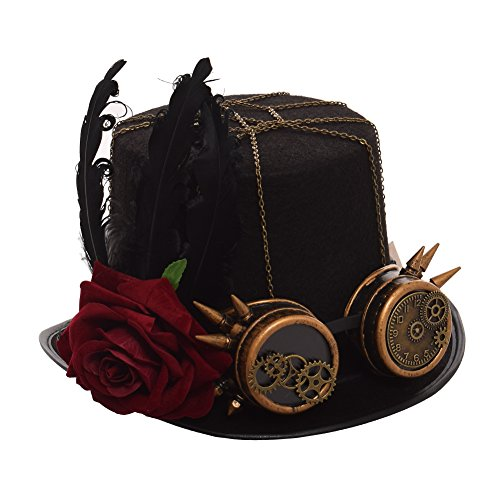 GRACEART Victorian Steampunk Top Hat with Goggles 58~60cm