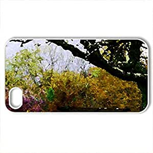 Bench in Autumn Nature - Case Cover for iPhone 4 and 4s (Watercolor style, White)