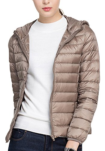 Down Jacket Khaki Quilted ZhuiKun Coats Puffer Women's Lightweight Hooded q5P8EP