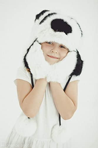 Amazon.com  Panda Baby Hat For little Girl Kids Beanie Real Fur Russian  Ushanka For Winter  Handmade 15c7c97a240