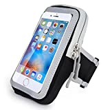 iPhone Sports Armband, CIQILY Breathable Running Workouts Armband Waterproof Adjustable Sports Armbag Touchscreen Pouch Multifunctional Pockets for iPhone 7 6 6S 5S SE iPod Touch and Android phone