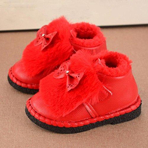 Omiky® Kleinkind Kinder Jungen Mädchen Martin Sneaker warme Stiefel Kinder Baby Bowknot Schuhe Rot