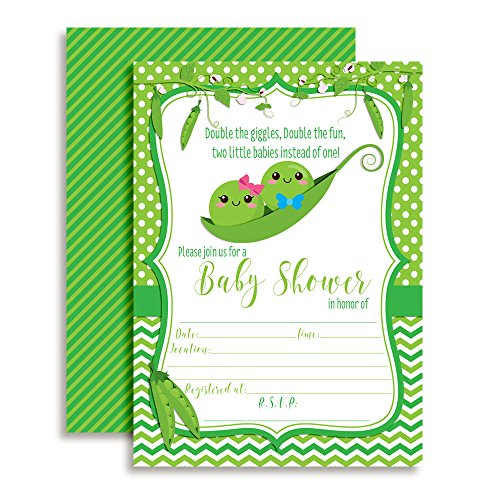 Two Peas in a Pod Twin Boy and Girl Baby Shower Invitations 20 5