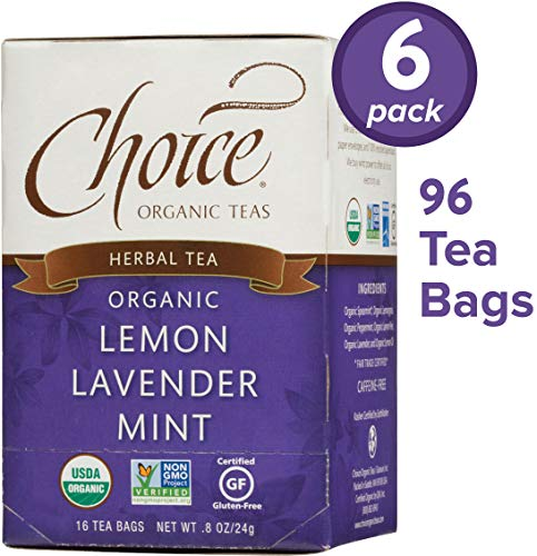Mint Lemon Lavender - Choice Organic Teas Herbal Tea, 6 Boxes of 16 (96 Tea Bags), Lemon Lavender Mint, Caffeine Free