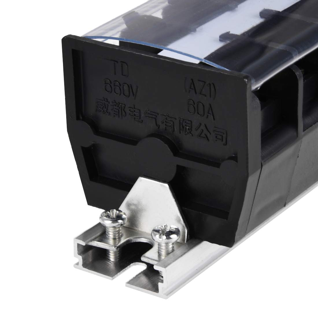 uxcell Barrier Terminal Strip Block 20 Positions 660V 20A Dual Rows DIN Rail Base Screw Connector with Cover TD-2020