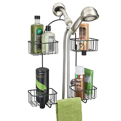mDesign Hand Held Shower Head Bathroom Caddy for Shampoo, Co
