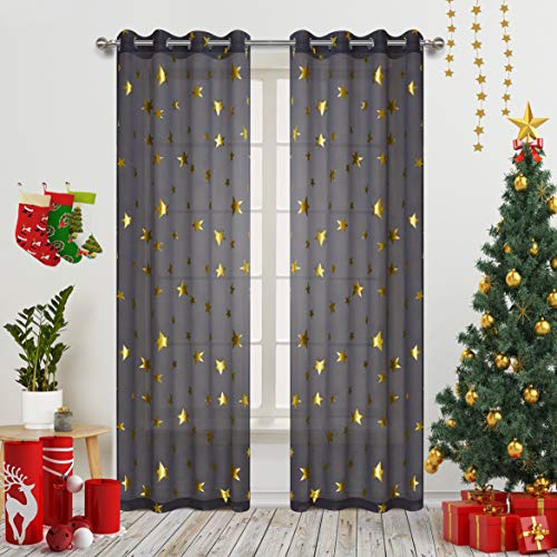 (Grey Window Drapes with Foil Print Twinkle Star for Baby Nursery Eyelet/Ring Top 2 Panel 84 Inch Length Thin and Soft Romantic Star Curtains for Cosmic Theme Bedroom Gold Grey)
