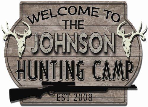 Hunting Camp Deer Skulls Personalized Hardboard sign from Redeye Laserworks - Deer Camp Sign
