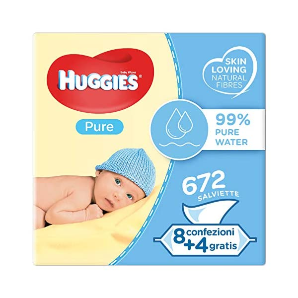 Huggies Pure Salviette Umidificate per Bambini, 12 Pacchi da 56 Pezzi 1