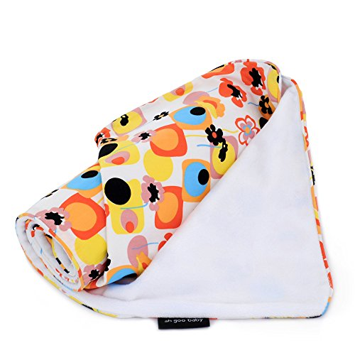 """The Stroller Blanket, Soft Minky and 100% Cotton 41"""" x 30"""", Poppy Pattern"""