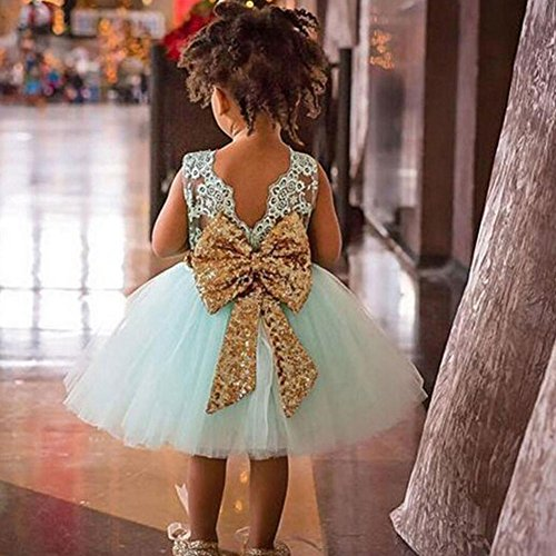 claro Niñas para Sequins 1 pequeños bowknot niños años Vestidos edad color Falda Princesa de Summer hibote encaje rosa 0 5 2years de Bebés Verde gnqxdwAP