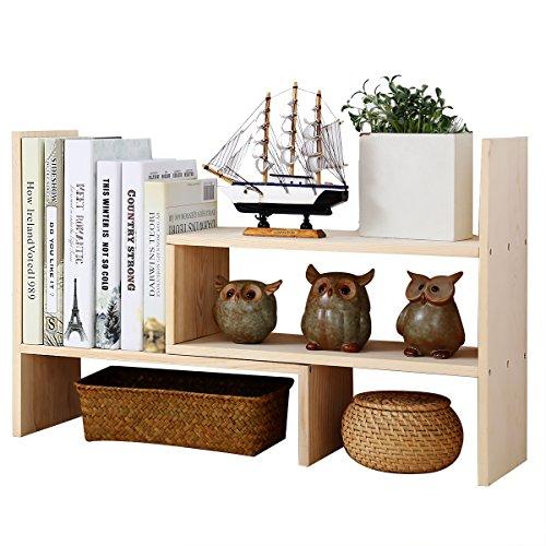 Adjustable Desktop Bookshelf, Creatwo Natural Wood Desktop Storage Organizer, Counter Top Bookcase, Beige by Creatwo