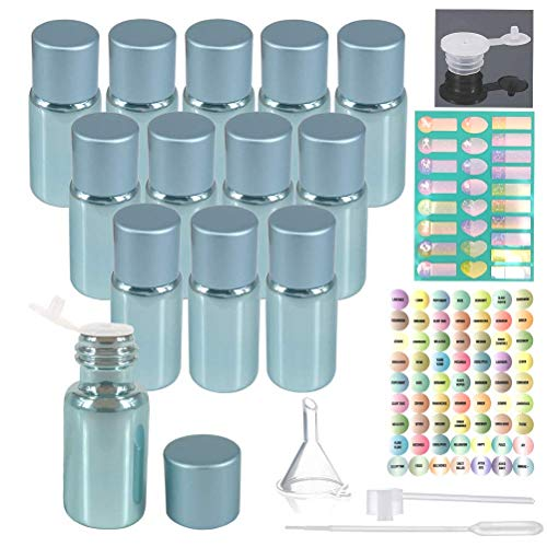 12pcs 5ml Pearl Blue Glass Oil Bottles Set For Essential Oil Blends Samples With 1x26 Stickers,1x63labels,1 Funnel,1 Dropper,1 Sprayer Adapter,1 Extra Orifice Reducer