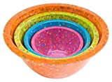 Zak! Designs Confetti Mixing Bowls (4 Piece Set), Durable and BPA-free Melamine, Assorted Orange