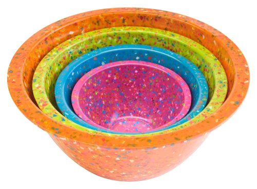 Zak Designs Confetti Mixing Bowls, Assorted Brights Orange, Set of 4 by Zak Designs