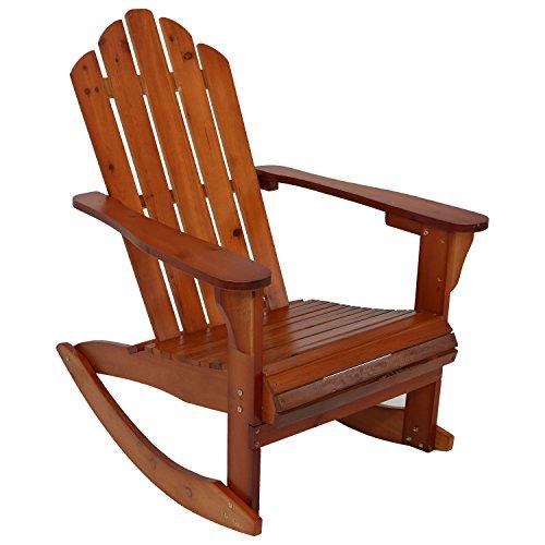 Sunnydaze Outdoor Wood Adirondack Rocking Chair, Brown (Chair Adirondack Rocking Classic)
