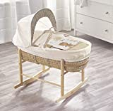 Beary Nice Cream Palm Moses Basket & Deluxe Natural Rocking Stand