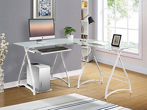 Naomi Home 3 Piece Allison Glass Office Desk White