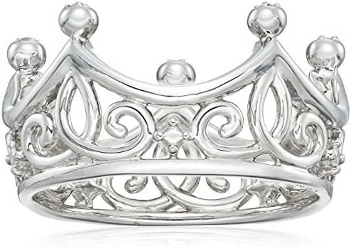 Sterling Silver Diamond Accent Crown Ring