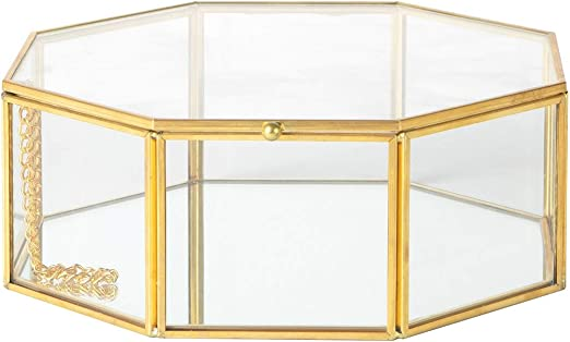 KASA Caja Decorativa para Joyas en Vidrio, Dorada: Amazon.es: Hogar