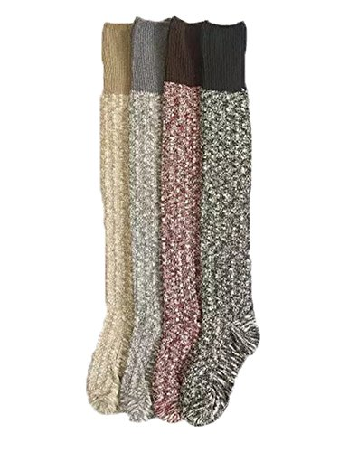 [TooPhoto Womens Cotton Blend Winter Cute Warm Boots Knee High Stockings Socks I Mix Colors] (Mardi Gras Outfit Ideas)