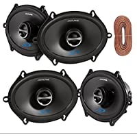 2 Pairs Of Alpine SPS-517 5X7 2-Way Car Coaxial Audio Speakers Bundle With Enrock 50 Feet Speaker Wire