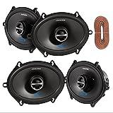2 Pairs Of Alpine SPS-517 5X7'' 2-Way Car Coaxial Audio Speakers Bundle With Enrock 50 Feet Speaker Wire