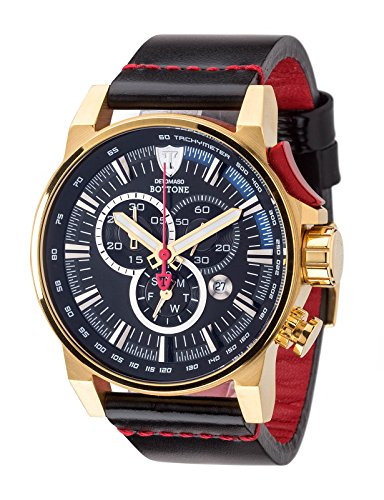 DETOMASO BOTTONE Mens Chronograph XL Watch Tachymeter Stainless Steel Gold Plated Leather Strap DT1064-C