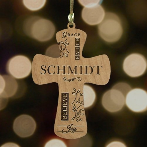GiftsForYouNow Engraved Cross Wooden Ornament, 3.5