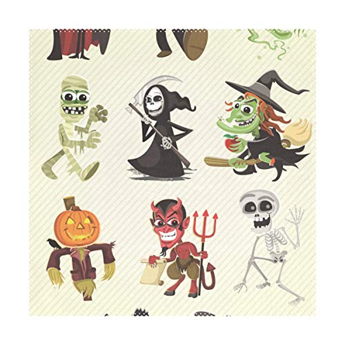 (LORVIES Hallowen Characters Placemats 1 Piece, Heat-Resistant Placemats Stain Resistant Washable Polyester Square Table Place Mat for Kitchen Decorative Dining Table,)