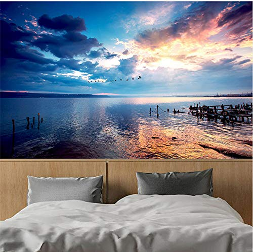 3D Wallpaper Wall Stickers Murals Decorations Sunset Sky Seaside Landscape Living Room Sofa Theme Hotel Backdrop Decor Art Girls Bedroom (W)400X(H)280Cm