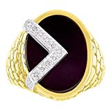 Diamond & Black Onyx Ring 14K Yellow or White Gold Nugget