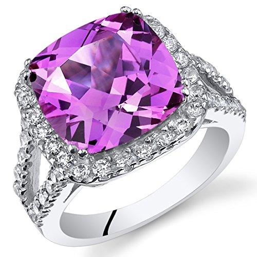 7.50 Carats Cushion Cut Created Pink Sapphire Ring Sterling Silver Sizes 5 to 9