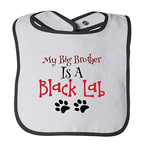 My Big Brother Is A Black Lab Dog Paws Cotton Terry Unisex Baby Terry Bib Contrast Trim - White Black, One Size