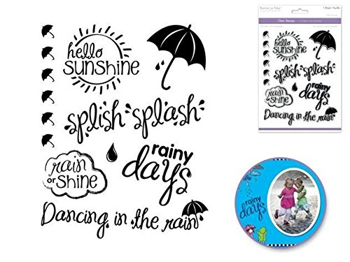 Rainy Day Rubber - Forever in Time Clear Cling Rubber Stamp Sunny with Slowers Rainy Days